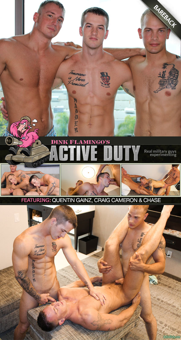 Quentin Gainz, Craig Cameron & Chase Fuck Raw at ActiveDuty