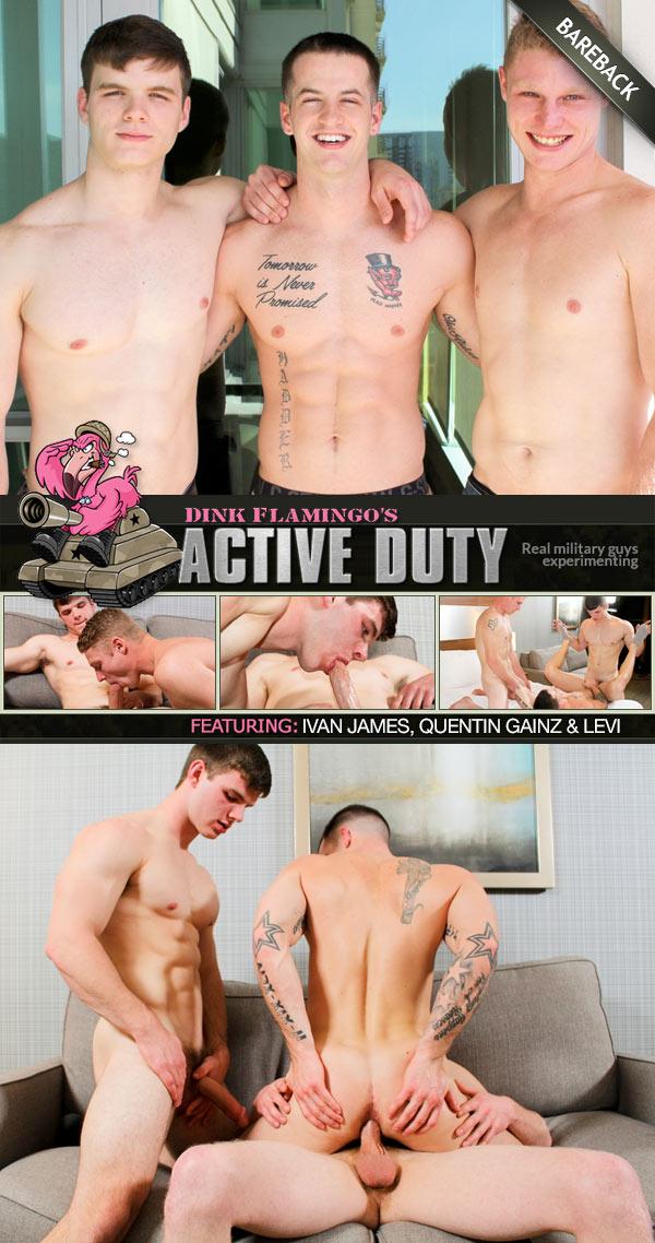 Levi Ivan James, Quentin Gainz & Levi (Bareback) at ActiveDuty