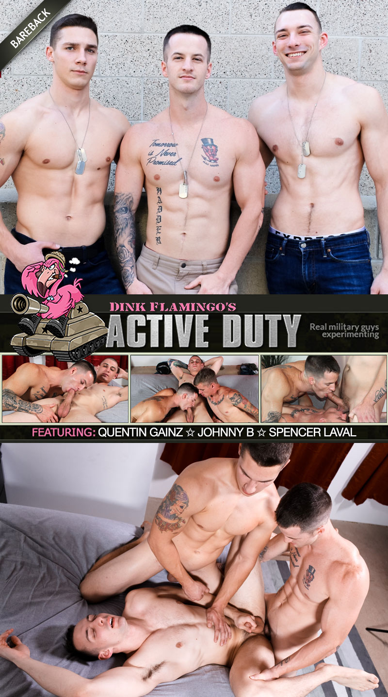 Quentin Gainz and Spencer Laval Tag-Team Johnny B (Bareback) at ActiveDuty