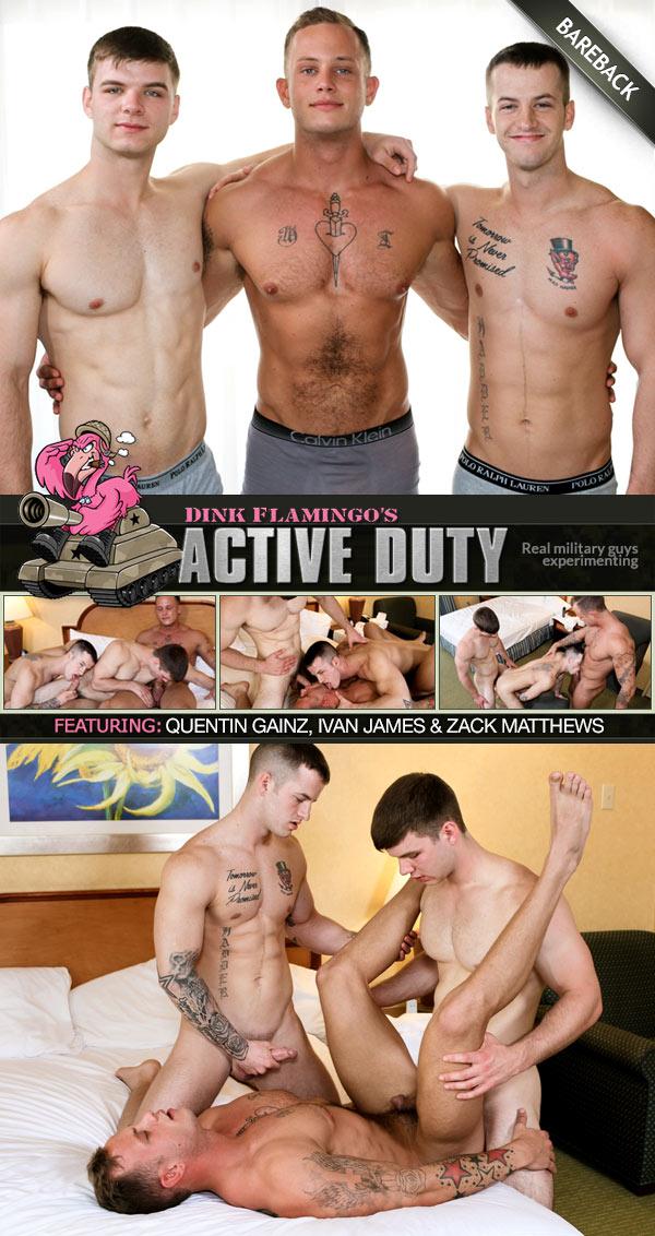 Quentin Gainz, Ivan James & Zack Matthews (Bareback) at ActiveDuty