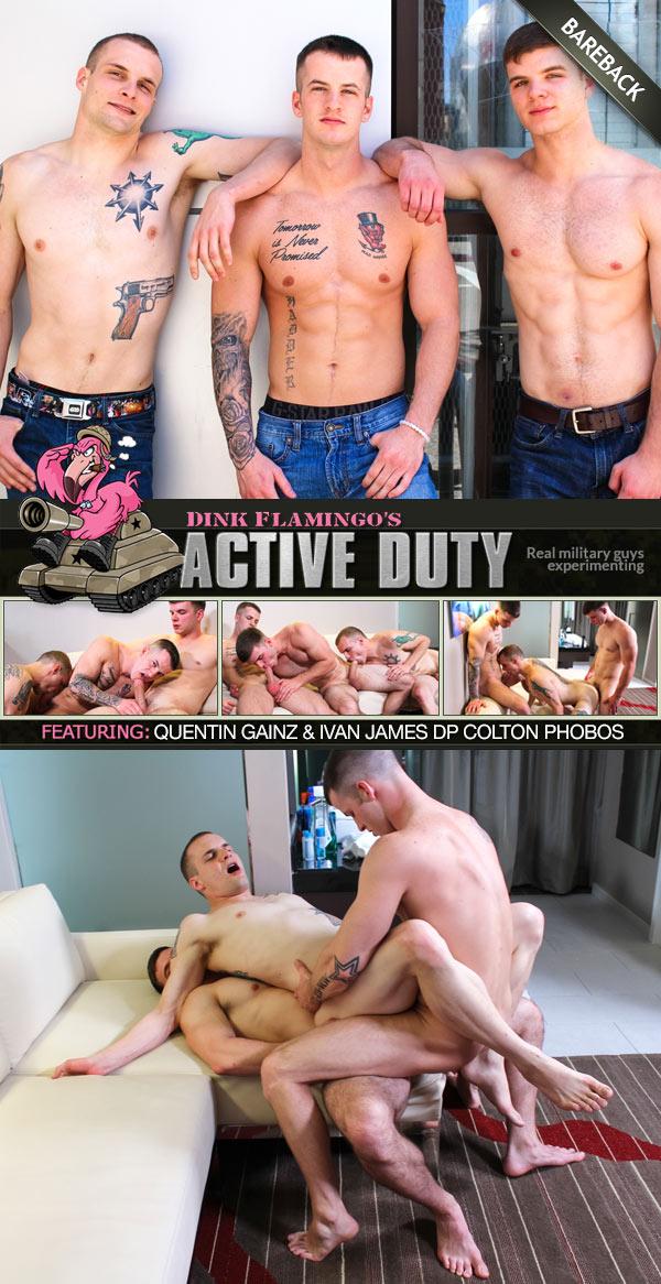 Quentin Gainz & Ivan James Double-Penetrate Colton Phobos (Bareback) at ActiveDuty