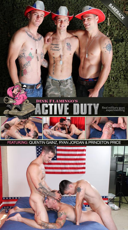 Quentin Gainz, Ryan Jordan & Princeton Price Fuck Bareback at ActiveDuty
