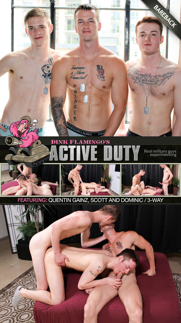 Quentin Gainz and Scott Tag-Team Dominic (Bareback) at ActiveDuty