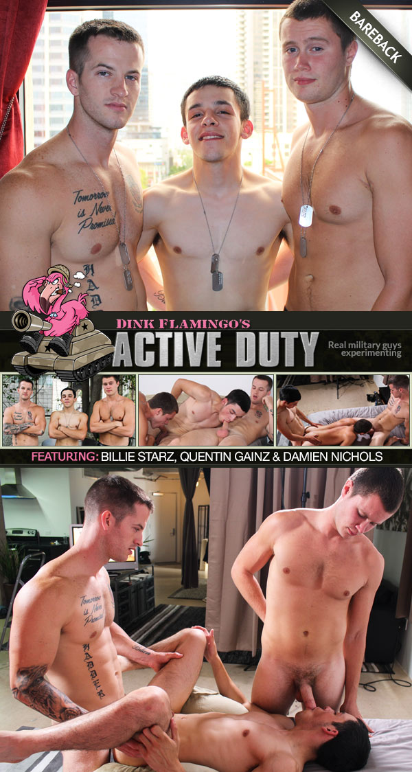 Billie Starz, Quentin Gainz & Damien Nichols (Bareback Threeway) at ActiveDuty