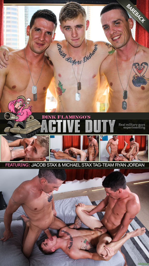 Twin Brothers Jacob Stax and Michael Stax Tag-Team Ryan Jordan (Bareback) at ActiveDuty