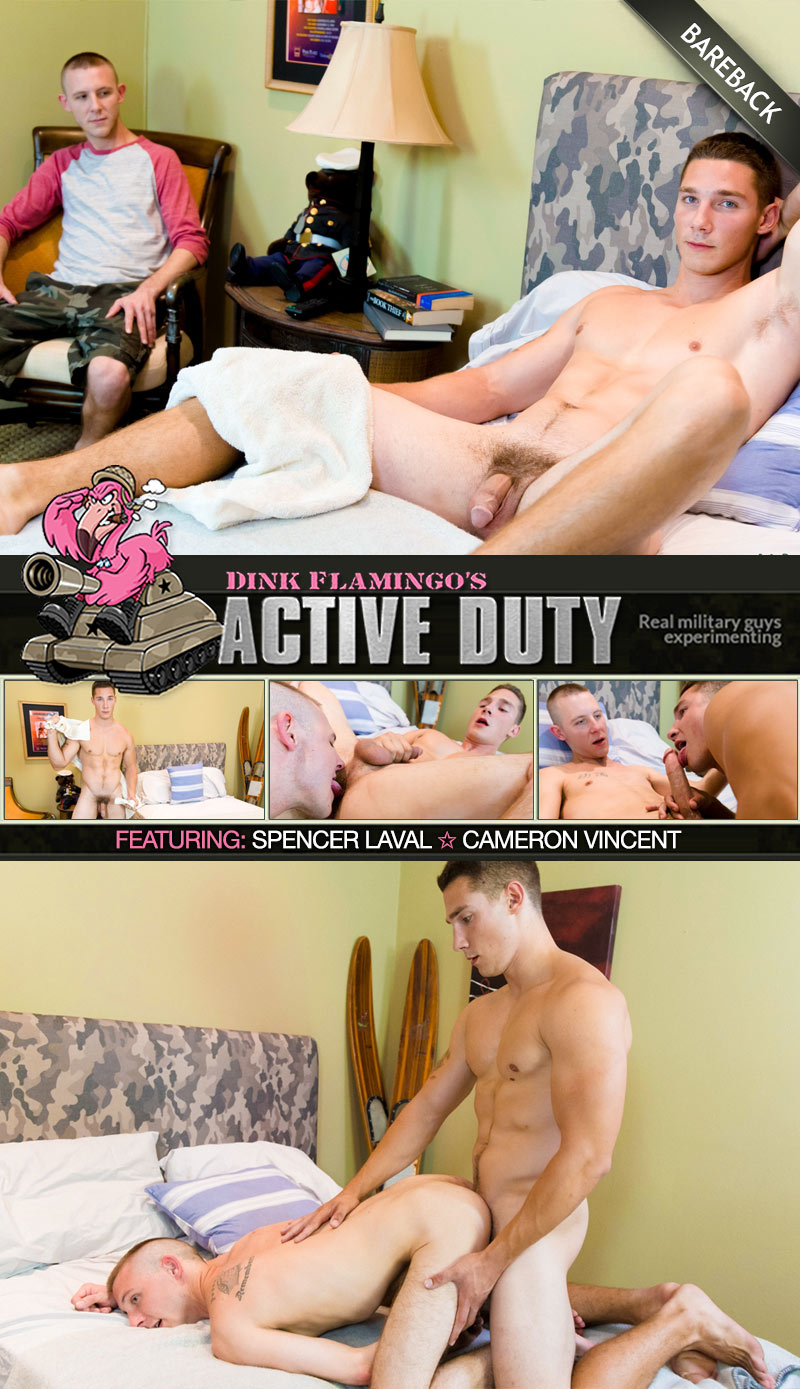 Spencer Laval Fucks Cameron Vincent (Bareback) at ActiveDuty