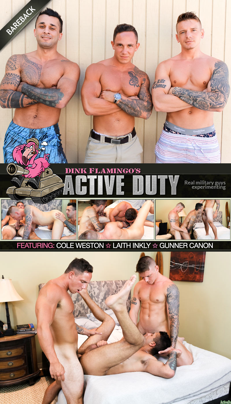 Cole Weston, Laith Inkly & Gunner Canon (Bareback) at ActiveDuty