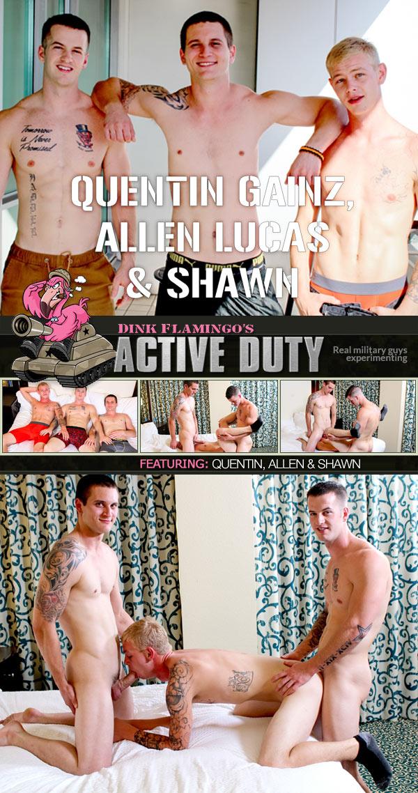 Quentin Gainz, Allen Lucas & Shawn (Bareback) at ActiveDuty