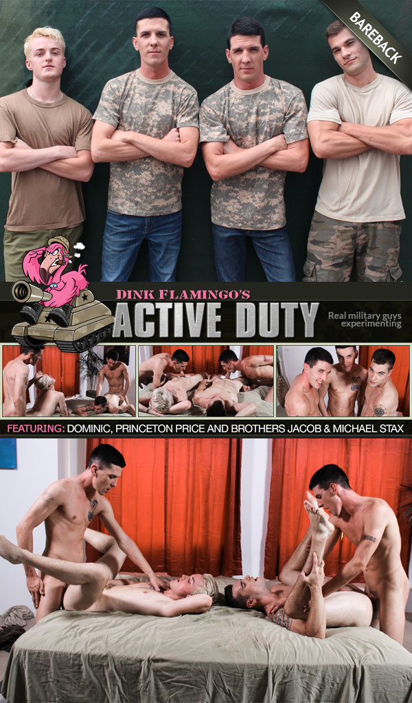 Twin Brothers Jacob & Michael Stax Fuck Princeton Price and Dominic (Bareback) at ActiveDuty
