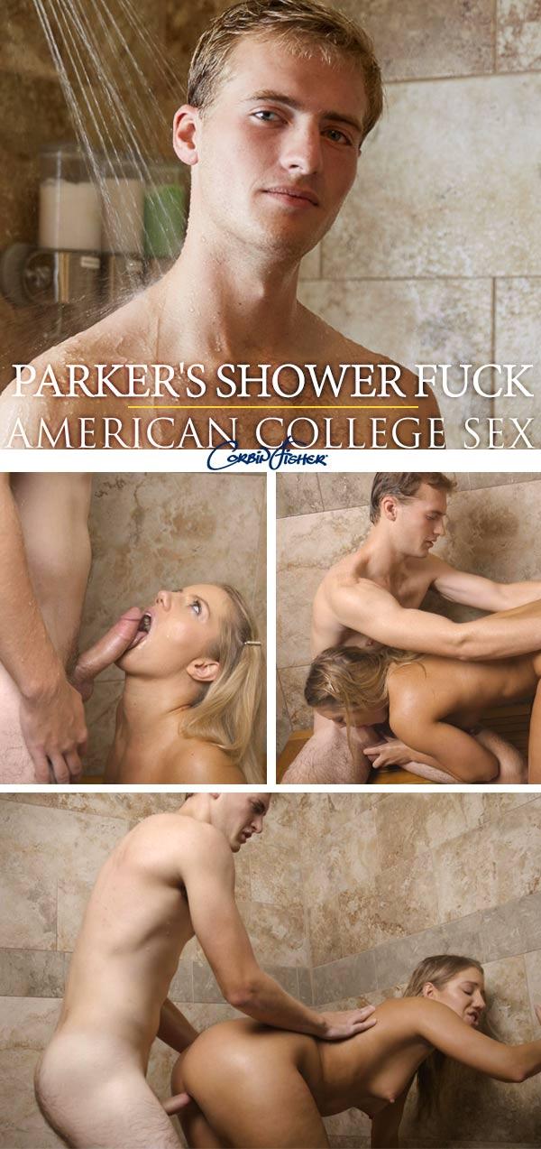 Parker's Shower Fuck at AmateurCollegeSex