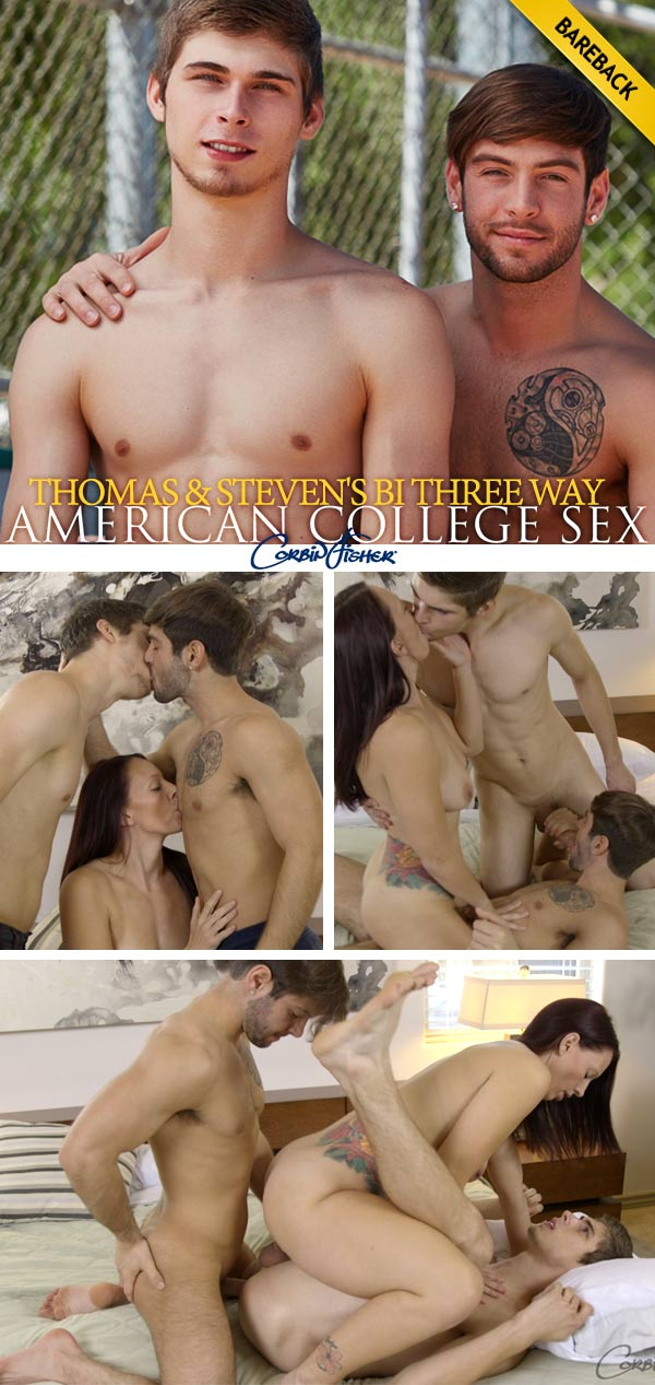 Thomas & Steven's Bareback Bi Threeway at AmateurCollegeSex