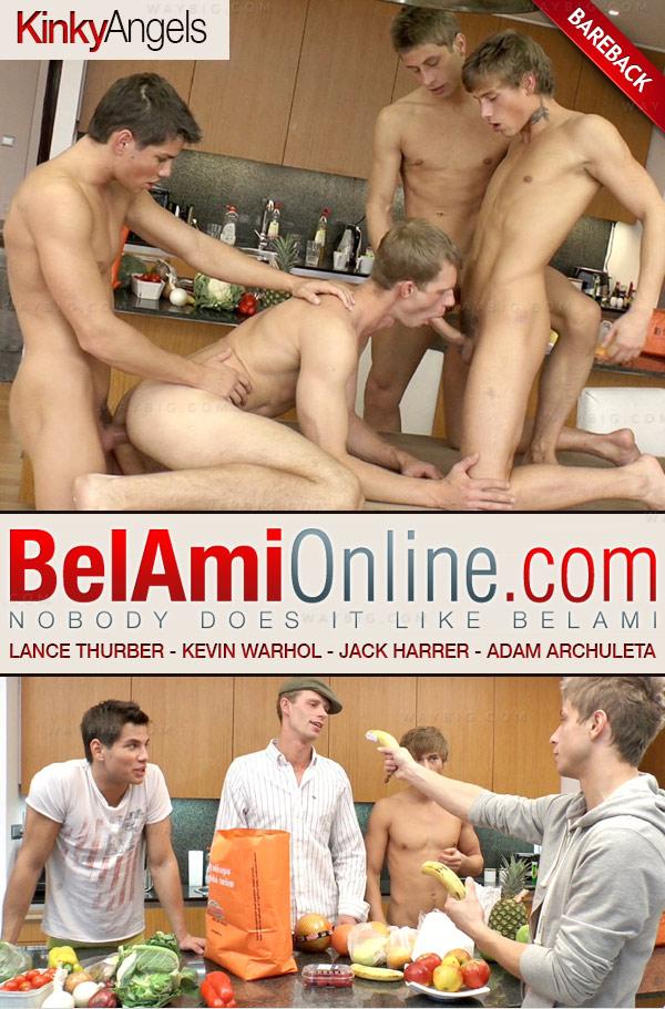 Lance Thurber (with Kinky Angels) (Kevin Warhol, Jack Harrer & Adam Archuleta) (Bareback) at BelAmiOnline.com