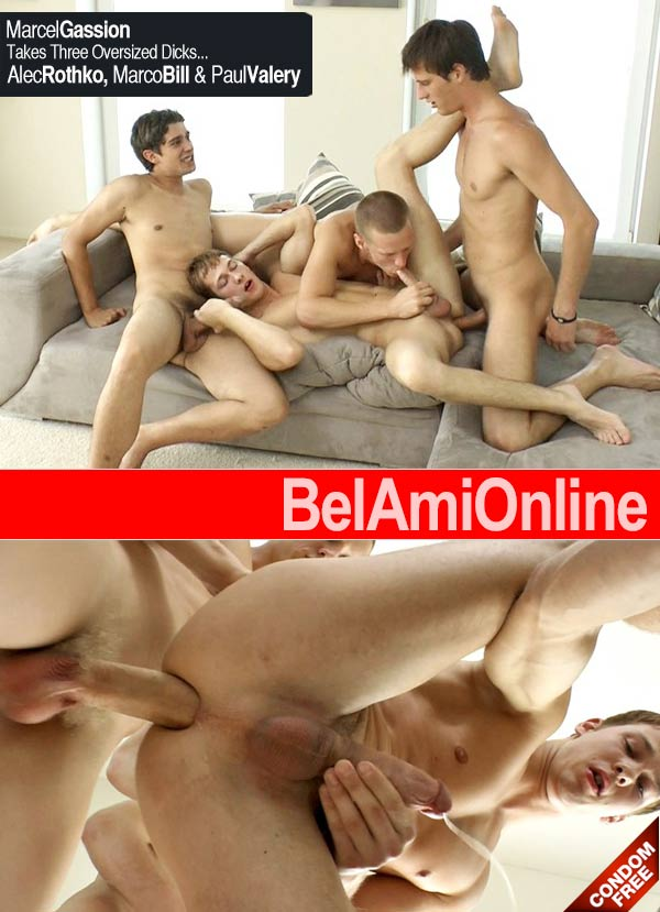 Marcel Gassion Fucked by Alec Rothko, Marco Bill & Paul Valery (Parts 1 & 2) at BelAmiOnline.com