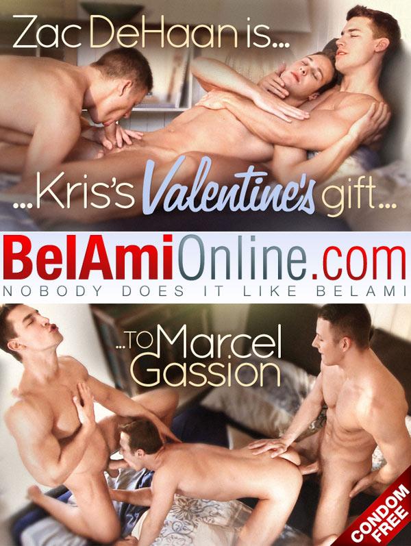 Kris' Valentine's Gift (Kris Evans, Marcel Gassion and Zac DeHaan) (Bareback) at BelAmiOnline at BelAmiOnline.com