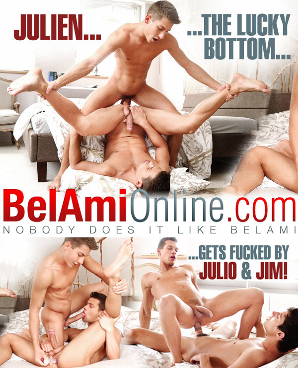 Julien Hussey Gets Fucked By Jim Kerouac and Julio Bardem (Bareback) (Parts 1 & 2) at BelAmiOnline.com