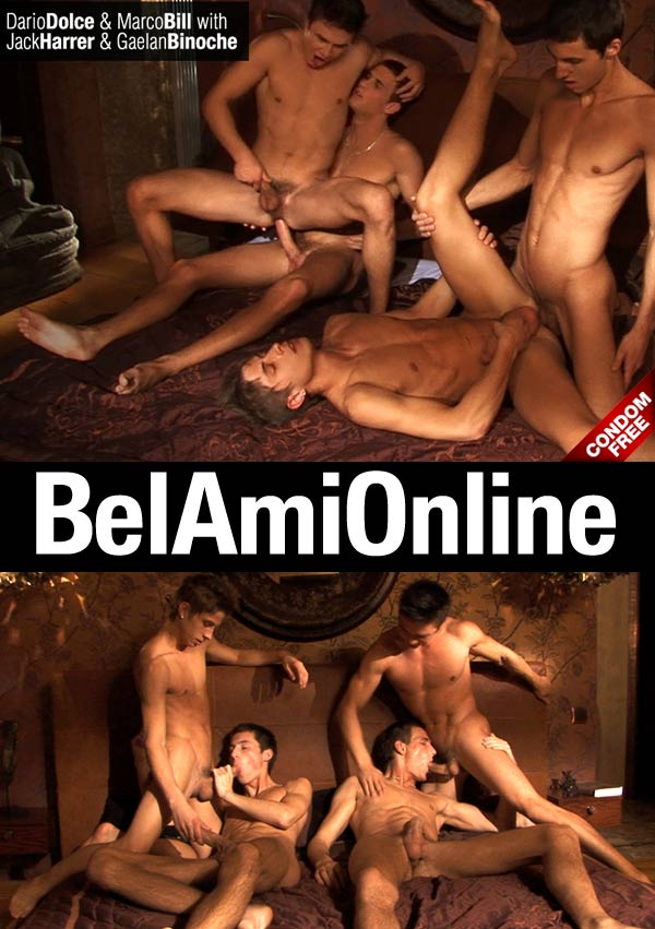 Jack Harrer, Dario Dolce, Gaelan Binoche & Marco Bill (Bareback) at BelAmiOnline