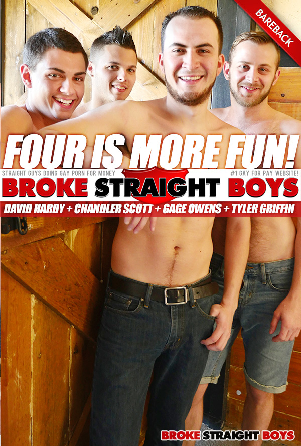 David Hardy, Chandler Scott, Gage Owens, Tyler Griffin (Bareback Orgy) at Broke Straight Boys