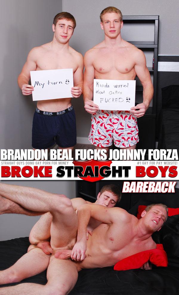 Brandon Beal Fucks Johnny Forza (Bareback) at Broke Straight Boys