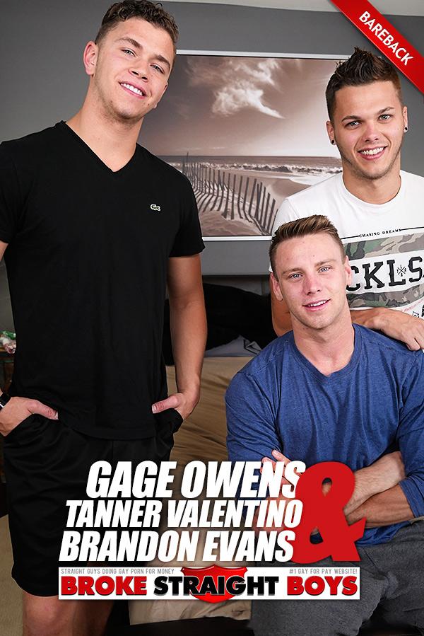 Gage Owens, Tanner Valentino & Brandon Evans (Bareback Threesome) at Broke Straight Boys