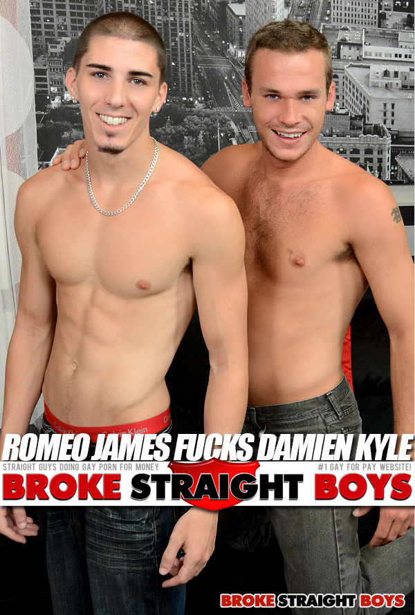 Romeo James Fucks Damien Kyle (Bareback) at Broke Straight Boys