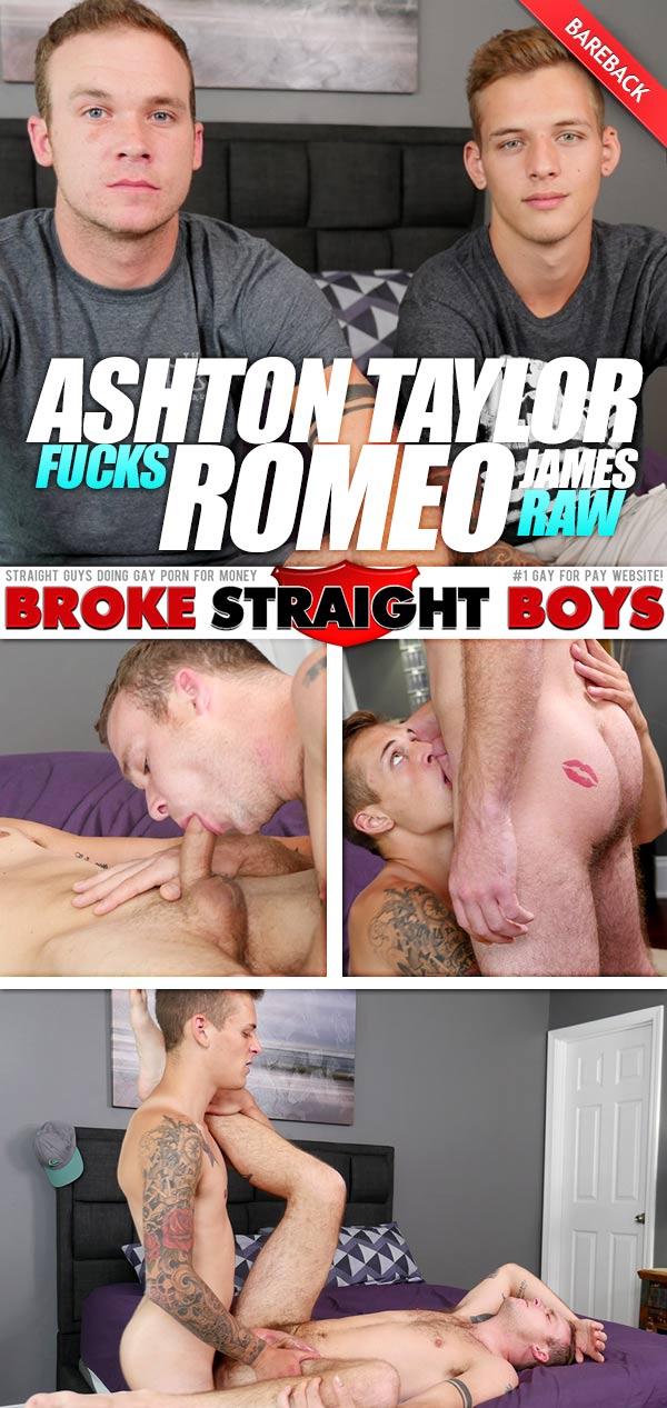 Ashton Taylor Fucks Romeo James (Bareback) at Broke Straight Boys