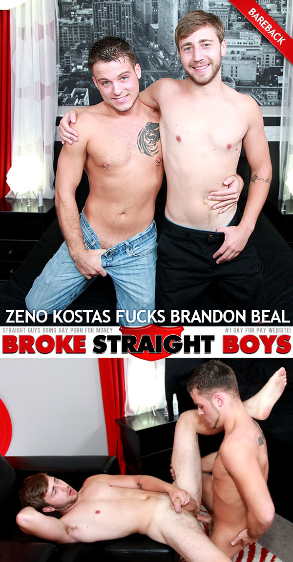 Zeno Kostas Fucks Brandon Beal (Bareback) at Broke Straight Boys