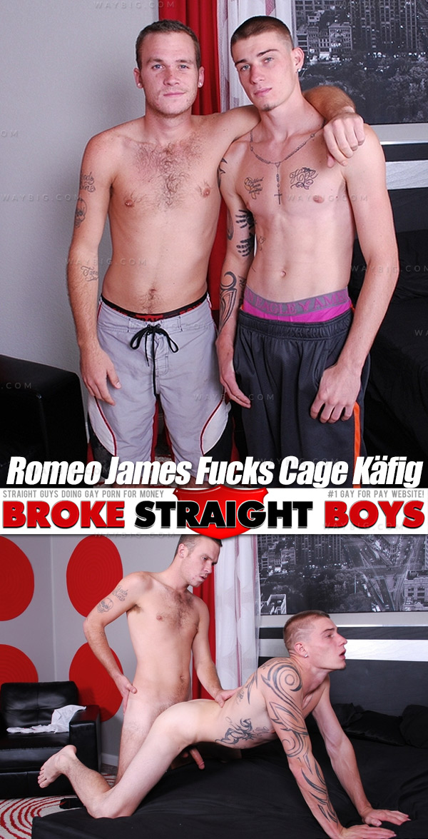Romeo James Fucks Cage Käfig (Bareback) at Broke Straight Boys