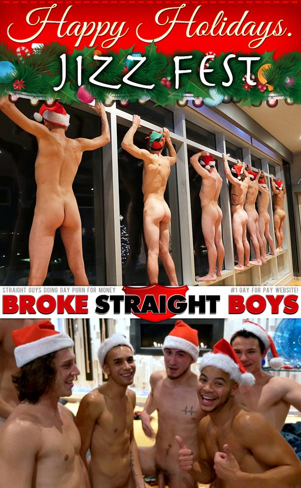 Holiday Jizz Fest (Paul Canon, Damien Kyle, Kaden Alexander, Zander Floyd, David Hardy, Justin Riggs, Antonio Drake) at Broke Straight Boys