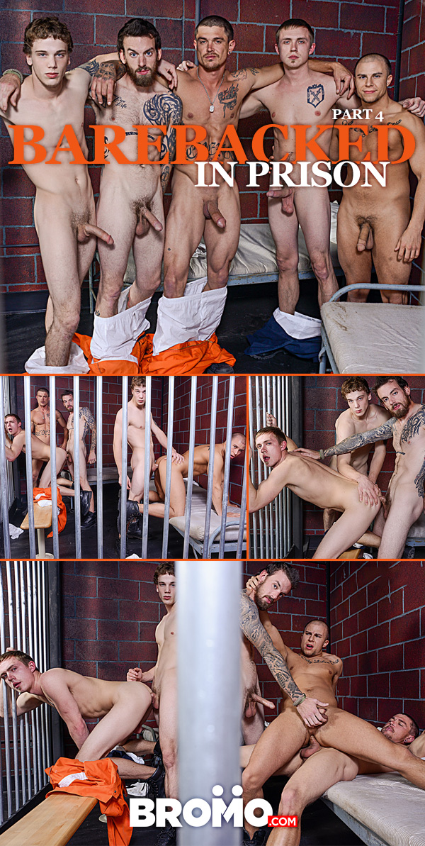 Barebacked in Prison (Sebastian Young, Eli Hunter, Zane Anders, Donny Forza & Rocko South) (Part 4) at Bromo