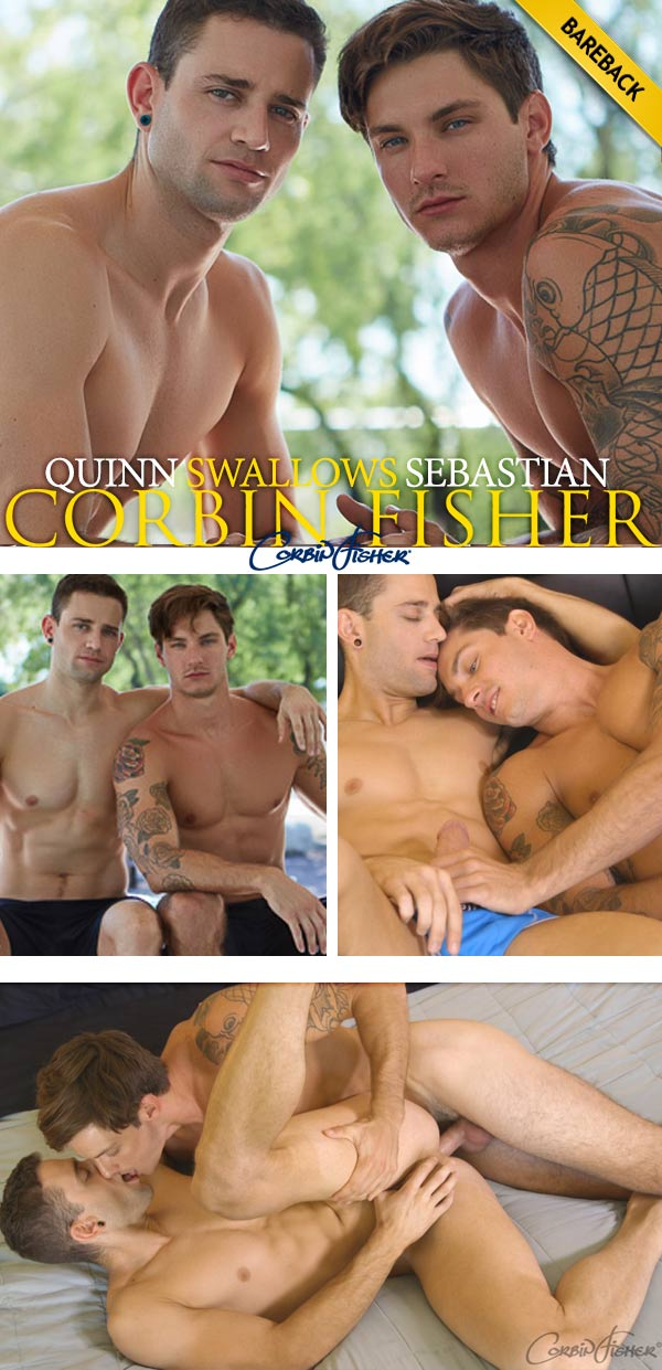 Quinn Swallows Sebastian (Bareback) at CorbinFisher