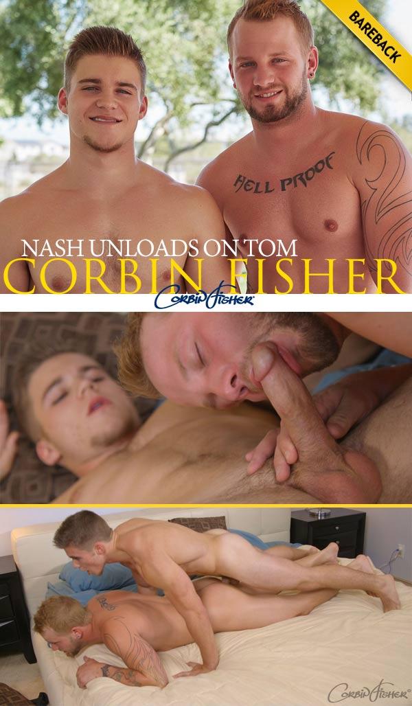 Nash Unloads on Tom (Bareback) at CorbinFisher