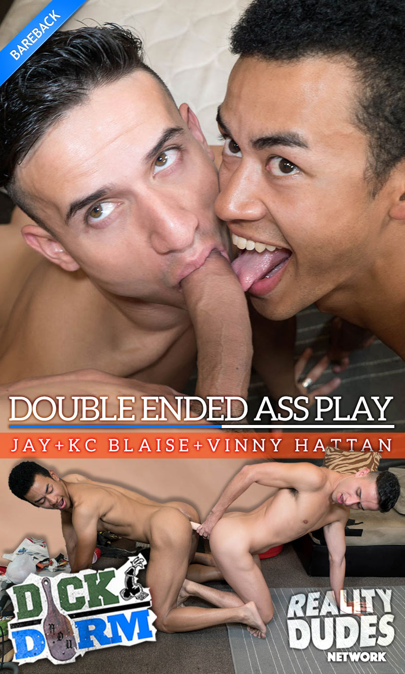 Double Ended Ass Play (Jay, KC Blaise and Vinny Hattan) at DickDorm.com