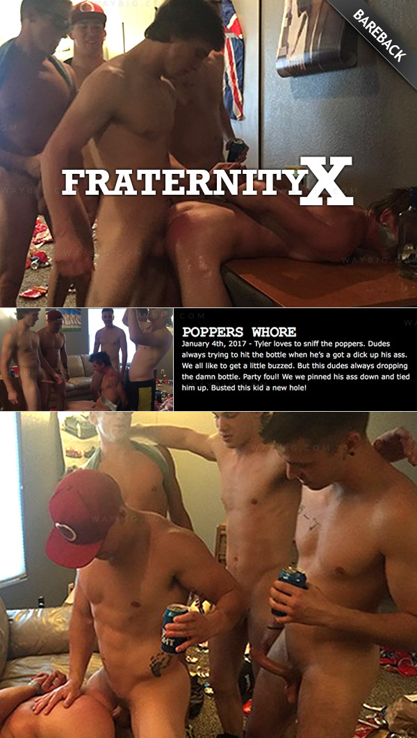Poppers Whore (Bareback) at FraternityX