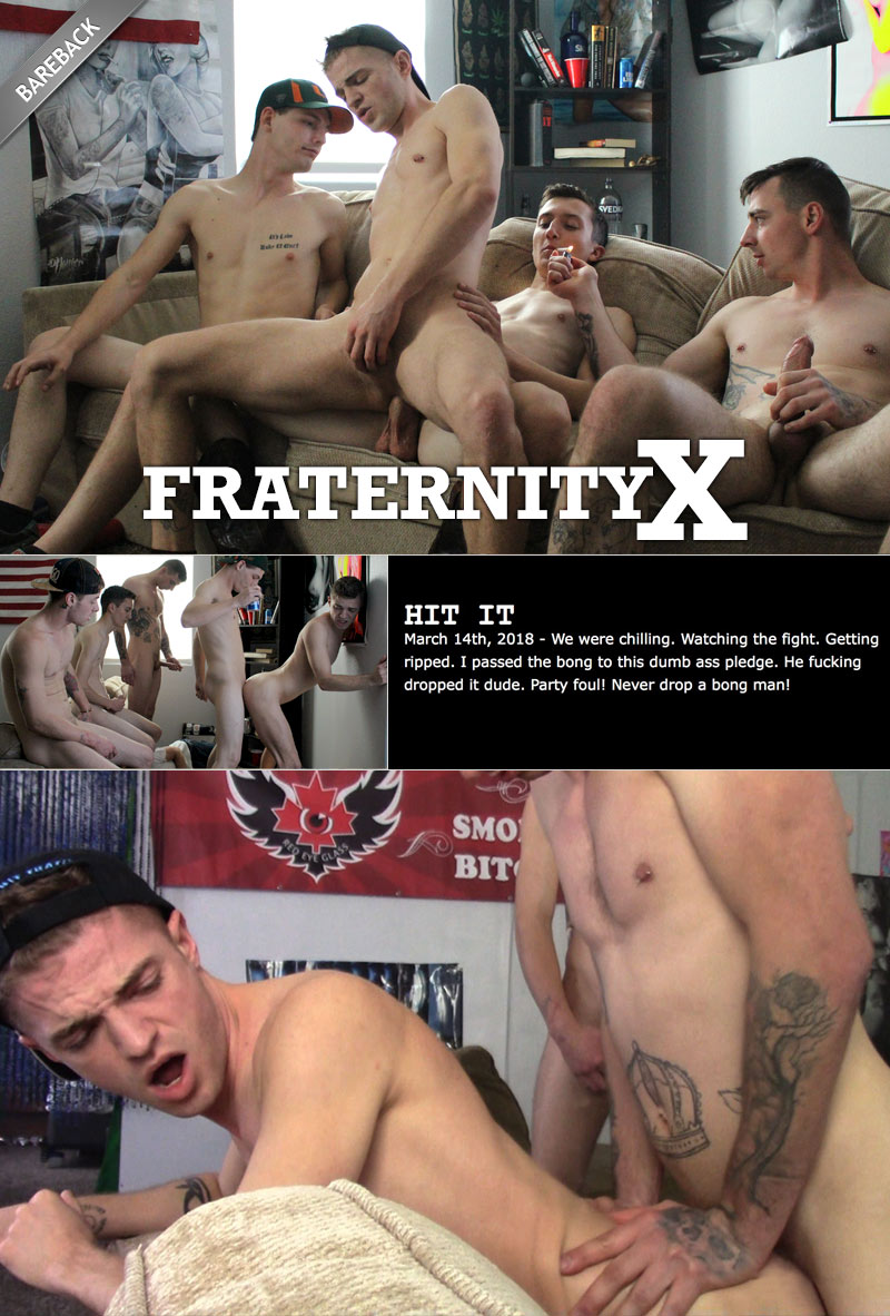 HIT IT! (Ethan Cook, Micky Jr, Timothy Drake, Charlie, Kris and Cowboy) (Bareback) at FraternityX