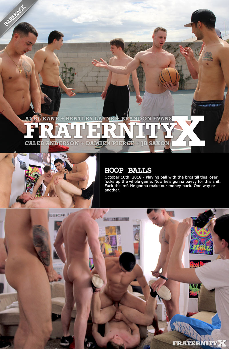 HOOP BALLS (with Axel Kane, Bentley Layne, Brandon Evans, Caleb Anderson, Damien Pierce and JB Saxon) (Bareback) at FraternityX