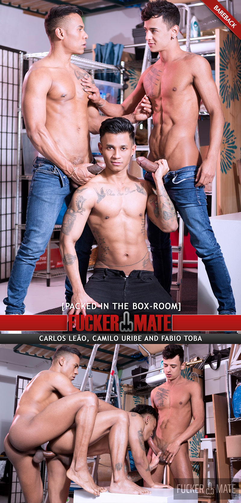 Packed In The Box-Room (Carlos Leão, Camilo Uribe And Fabio Toba) (Bareback) at Fuckermate