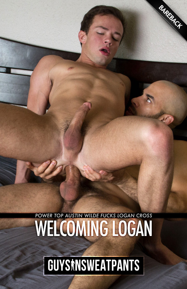 Welcoming Logan Cross (with Austin Wilde) (Bareback) at Guys In Sweatpants
