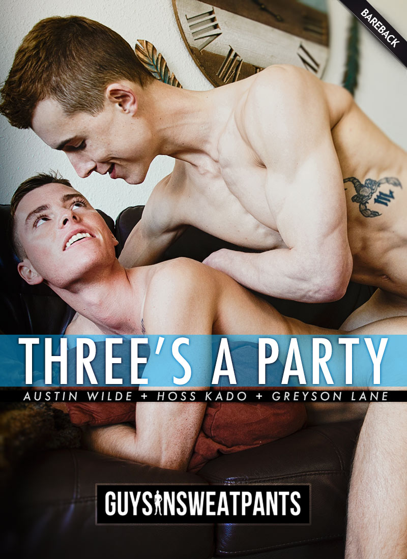 Three's A Party (Austin Wilde Fucks Hoss Kado and Greyson Lane) at Guys In Sweatpants