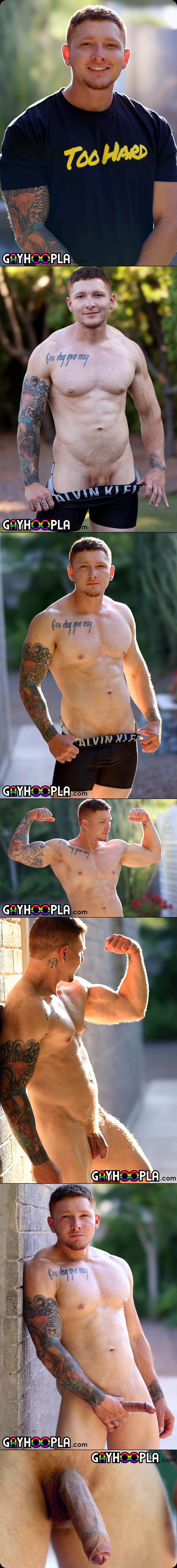 Tatted Jeremiah Cruz Oils Up His Uncut Cock And Rubs One Off! at GayHoopla