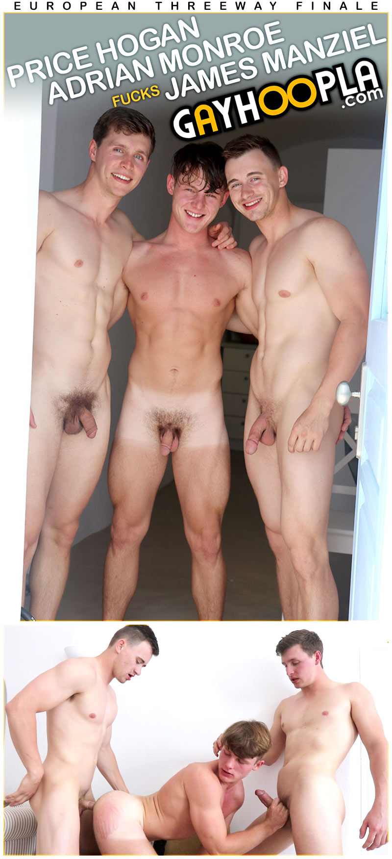Threesome Finale In Europe (Price Hogan, Adrian Monroe and James Manziel) at GayHoopla