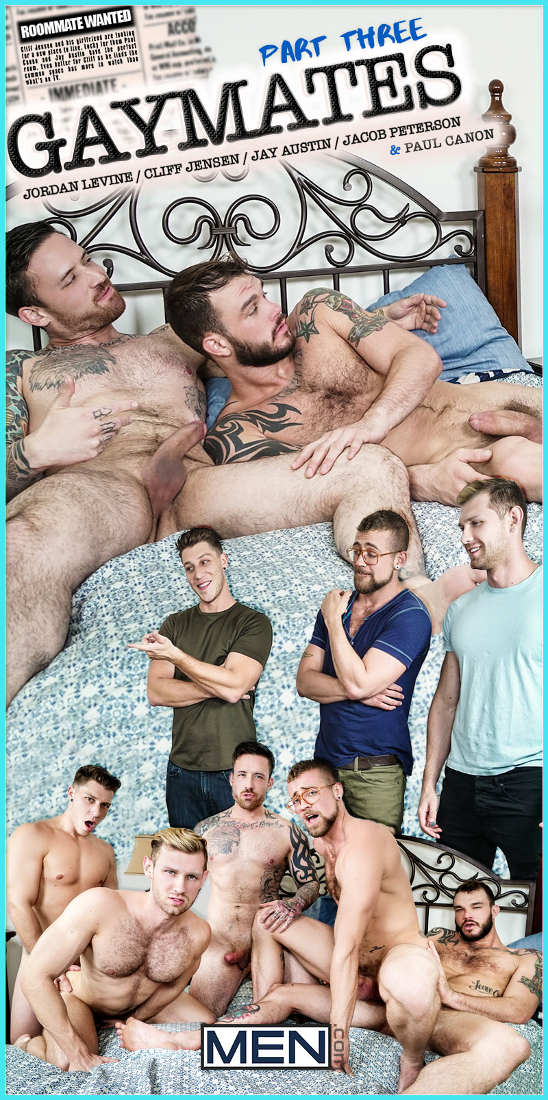 Gaymates, Part 3 (Jordan Levine, Cliff Jensen, Jay Austin, Jacob Peterson and Paul Canon) at JizzOrgy