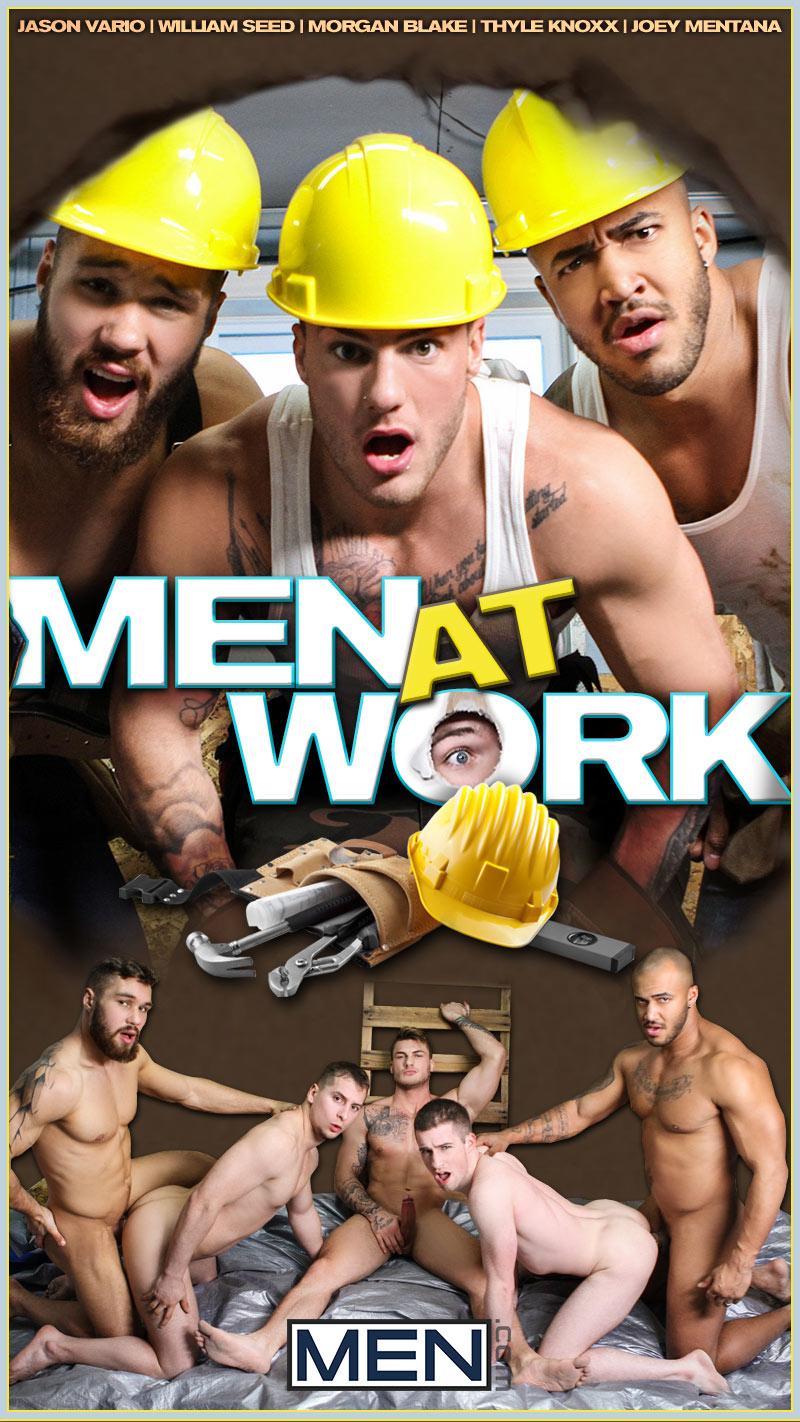 Men at Work (Jason Vario, William Seed, Morgan Blake, Thyle Knoxx and Joey Mentana) at JizzOrgy.com