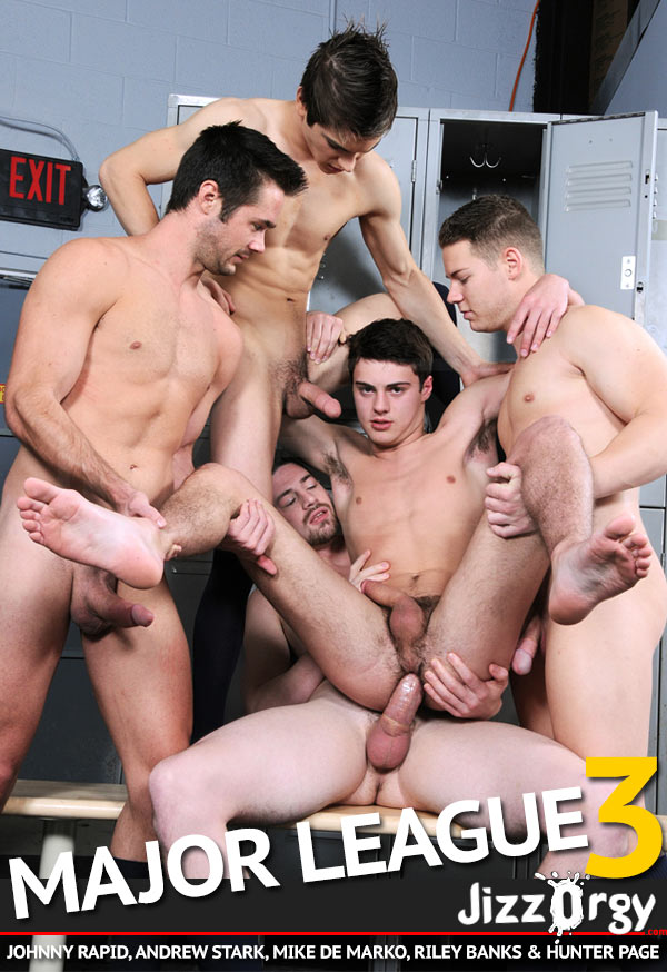 Major League, Part 3 (Johnny Rapid, Andrew Stark, Mike De Marko, Riley Banks & Hunter Page) at JizzOrgy