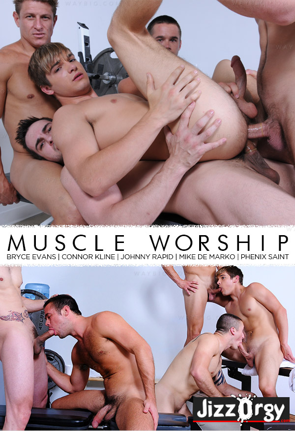 Muscle Worship (Bryce Evans, Connor Kline, Johnny Rapid, Mike De Marko & Phenix Saint) at JizzOrgy