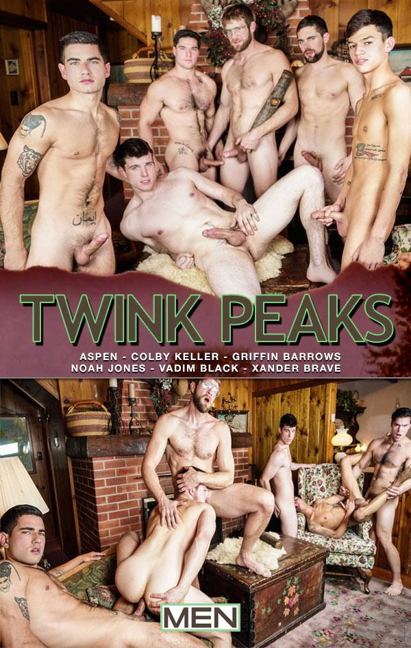Twink Peaks (Aspen, Colby Keller, Griffin Barrows, Noah Jones, Vadim Black and Xander Brave) (Part 4) at Jizz Orgy