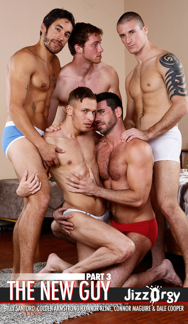 The New Guy (Johnny Rapid, Chris Bines, Cooper Reed, Hunter Page & Jack King) (Part 3) at JizzOrgy