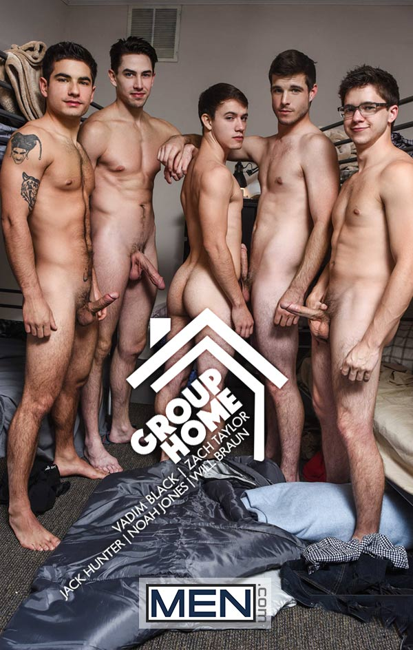 Group Home: Orgy (Jack Hunter, Noah Jones, Vadim Black, Will Braun and Zach Taylor) (Part 3) at JizzOrgy