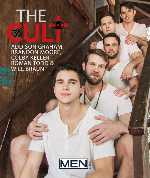 The Cult (Addison Graham, Brandon Moore, Colby Keller, Roman Todd & Will Braun) (Part 3) at JizzOrgy