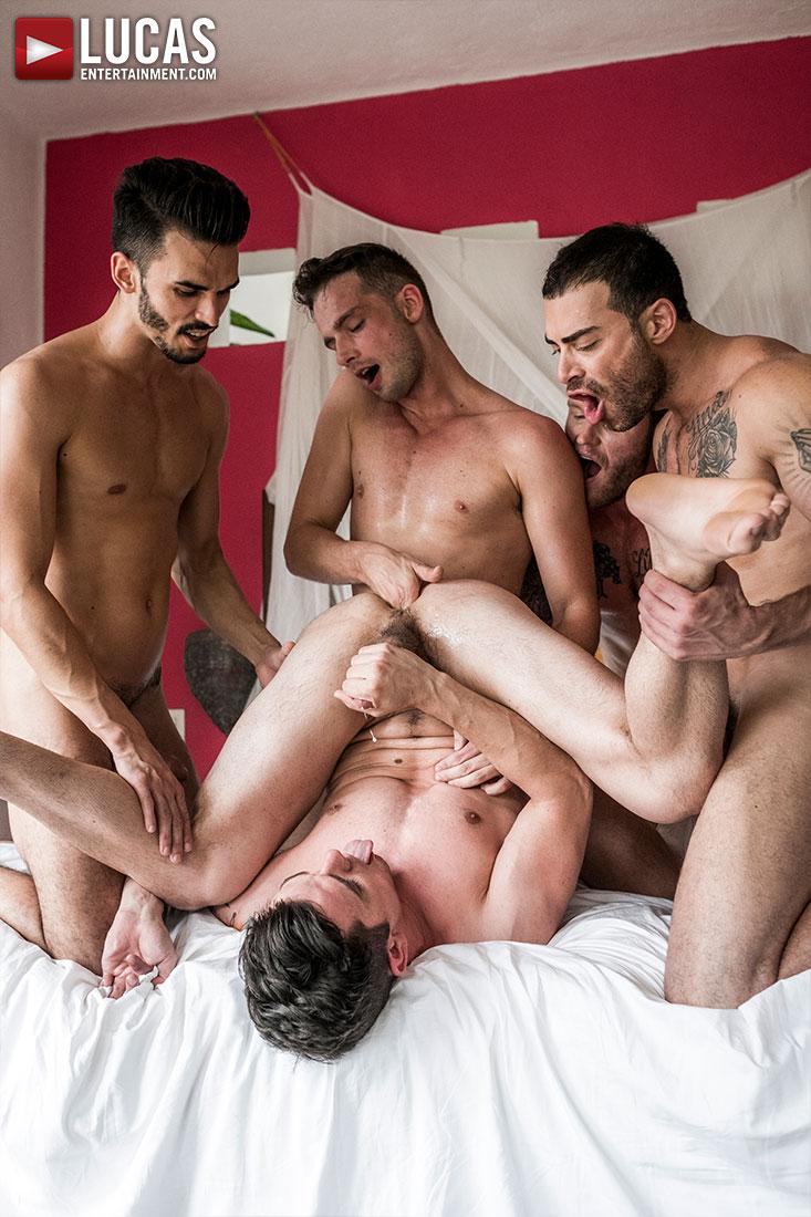 Take It Boy!, Scene 1 (Aaden Stark, Carlos Lindo, Dakota Payne, Damon Heart and Shawn Reeve) (Bareback) at Lucas Entertainment