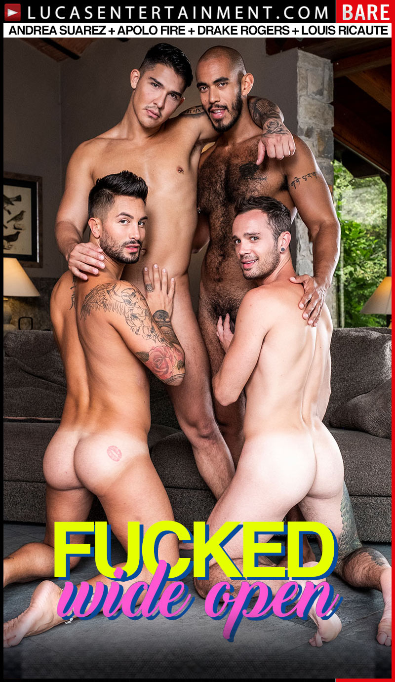 Fucked Wide Open, Scene Three (Andrea Suarez, Apolo Fire, Drake Rogers and Louis Ricaute's Ass-Splitting Foursome) at Lucas Entertainment